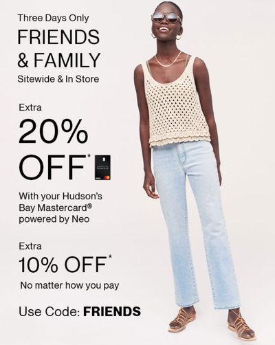 Hudson's Bay Canada Friends & Family Event Sale: Today, Save an Extra 20% Off Using Coupon Code