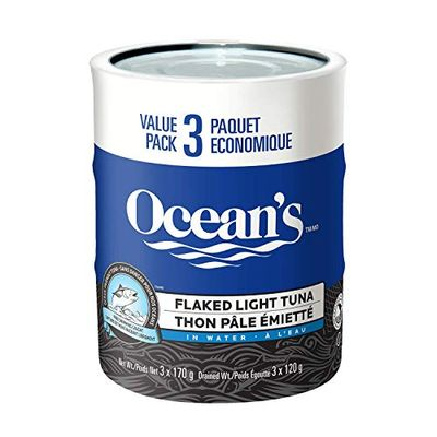 Ocean's Flaked Light Tuna - 170 Grams, 3 Count - Canned Skipjack Tuna - High In Protein - 14 Grams of Protein Per 55 Gram Serving $2.61 (Reg $4.41)