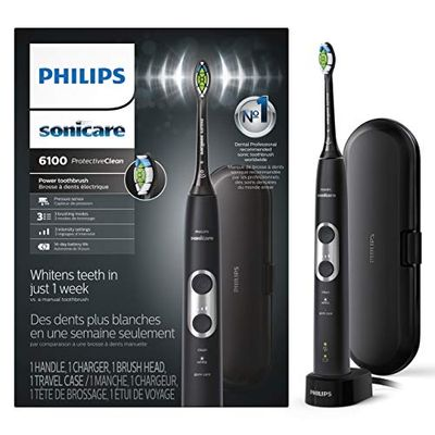 Philips Sonicare Protectiveclean 6100 Rechargeable Toothbrush, Black, Hx6870/41 (packaging Varies), $98.35 (Reg $149.99)