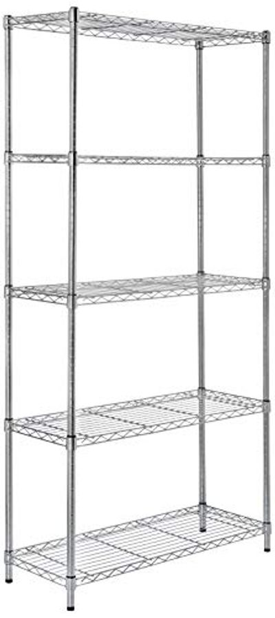 AmazonBasics 5-Shelf Shelving Storage Unit, Metal Organizer Wire Rack, Chrome Silver $64.57 (Reg $87.03)