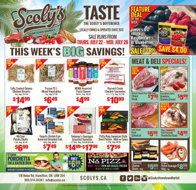 Scoly's Hometown Market Flyer July 22 to 28