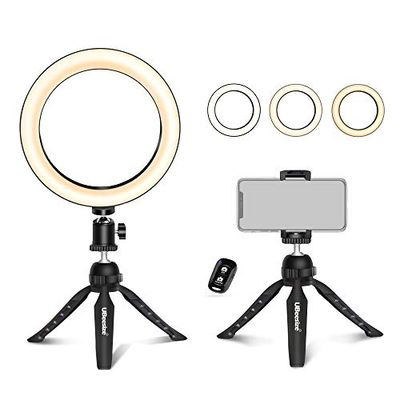 """UBeesize 8"""" Tabletop Ring Light with Mini Tripod Stand & Cell Phone Holder for Live Stream/Makeup, Mini Led Camera Ringlight for YouTube Video/Photography Compatible with iPhone Xs Max XR Android $12.99 (Reg $29.99)"""