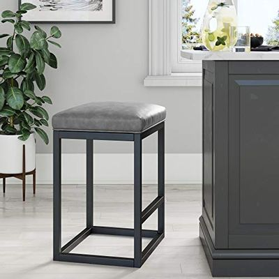 """Nathan James 22101 Nelson Bar Stool with Leather Cushion and Metal Base, 24"""", Gray/Black $124.01 (Reg $138.35)"""