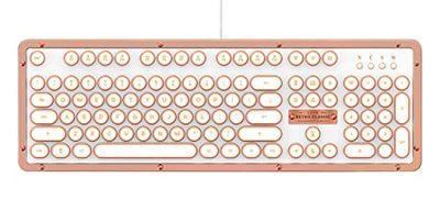 AZiO MK-RETRO-L-02-US Retro Classic Posh USB Luxury Vintage Back lit Mechanical Keyboard, White/Copper $108.98 (Reg $213.00)