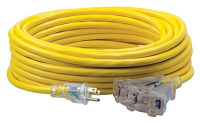 Southwire Multi-Outlet Vinyl Extension Cord with Lighted End, 50-Foot, Yellow (41888802) $45.74 (Reg $54.07)