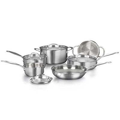 CUISINART 77-10NC Classic Collection Cookware Set, Brushed Stainless Steel, 10 Piece, Silver $149.99 (Reg $229.99)