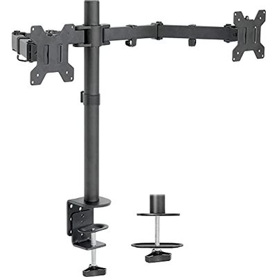 """VIVO Dual LCD LED Monitor Desk Mount Stand Heavy Duty Fully Adjustable, Fits 2 Screens up to 27"""", STAND-V002 $39.99 (Reg $59.99)"""