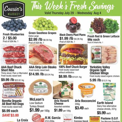 Cousin's Market Flyer July 29 to August 4