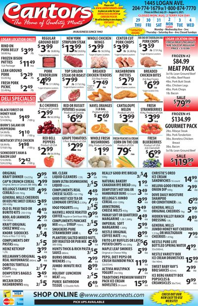 Cantor's Meats Flyer July 29 to August 4