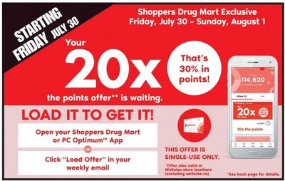 Shoppers Drug Mart Canada Offers: Get 20X The Points With Your Loadable Offer + 2 Day Sale