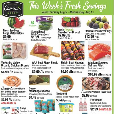 Cousin's Market Flyer August 5 to 11