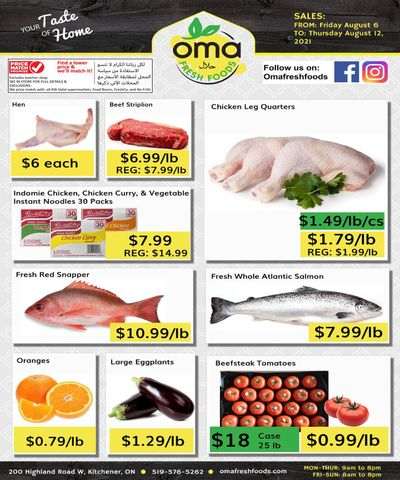 Oma Fresh Foods Flyer August 6 to 12