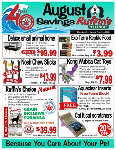 Rufiin's Pet Centre Flyer August 5 to 22