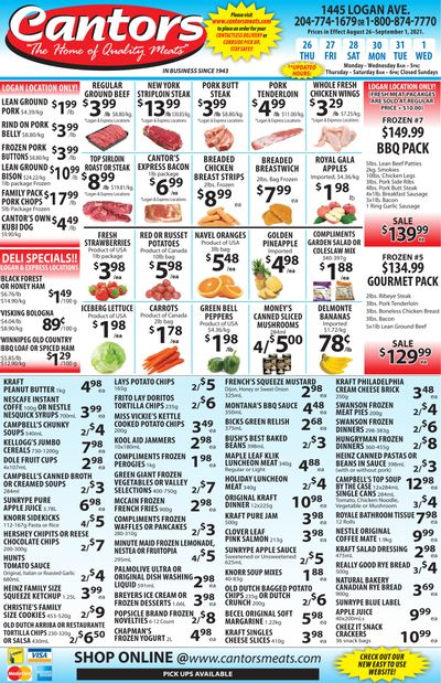 Cantor's Meats Flyer August 26 to September 1