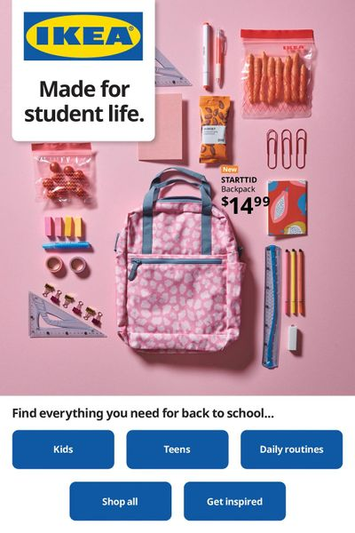 Ikea Made for Student Life Flyer August 26 to September 8