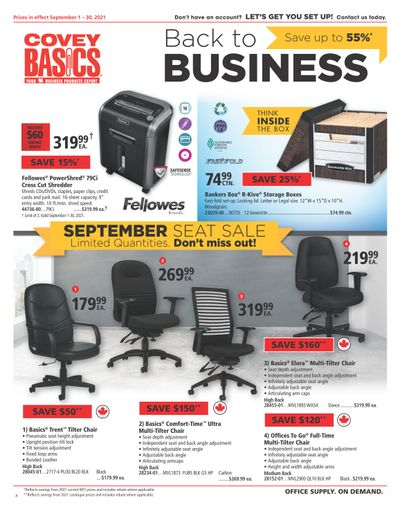 Covey Basics Back to Business Flyer September 1 to 30