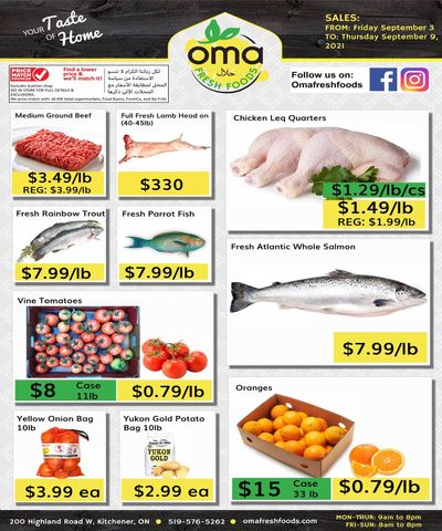 Oma Fresh Foods Flyer September 3 to 9