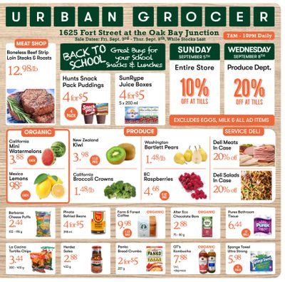 Urban Grocer Flyer September 3 to 9