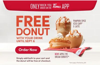 Tim Hortons Canada Promotions: FREE Doughnut With Your Drink