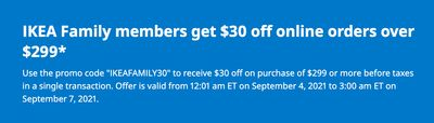 IKEA Canada Family Members Promotions: TODAY, Get $30 off Online Orders of $300