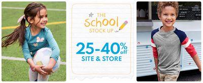 Carter's OshKosh B'Gosh Canada The School Stock up Sale: Save 25% – 40% off Site & Store
