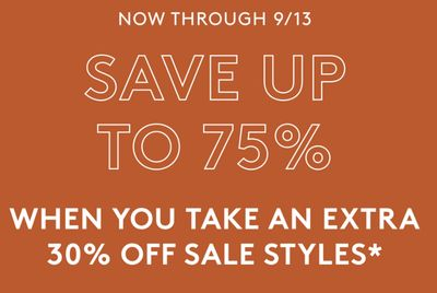 Naturalizer Canada Sale: Save up to 75% off, with an Extra 30% off Sale Styles with Coupon Code