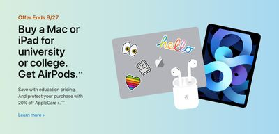Apple Canada Back to School Promo: FREE AirPods With Purchase