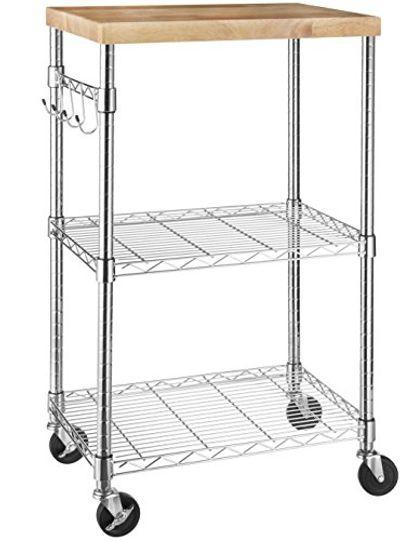 AmazonBasics Kitchen Rolling Microwave Cart on Wheels, Storage Rack, Wood/Chrome $55.92 (Reg $79.99)