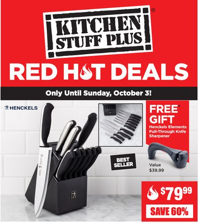 Kitchen Stuff Plus Canada Red Hot Deals: Save 60% on 11 Pc. Henckels Fine Edge Synergy Wood Knife Block Set + More Offers