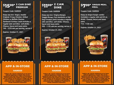 Harvey's Canada Coupons (AB): until October 31
