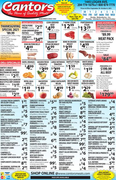 Cantor's Meats Flyer September 30 to October 6