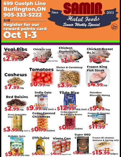 Samir Supermarket Flyer October 1 to 3
