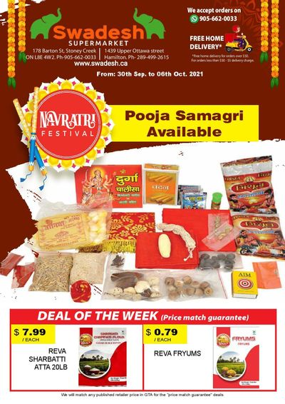 Swadesh Supermarket Flyer September 30 to October 6