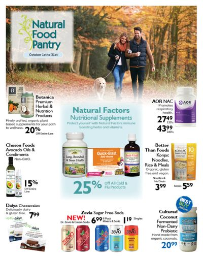 Natural Food Pantry Flyer October 1 to 31
