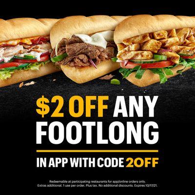 Subway Canada Deals: $2 Off Footlong + BOGO FREE
