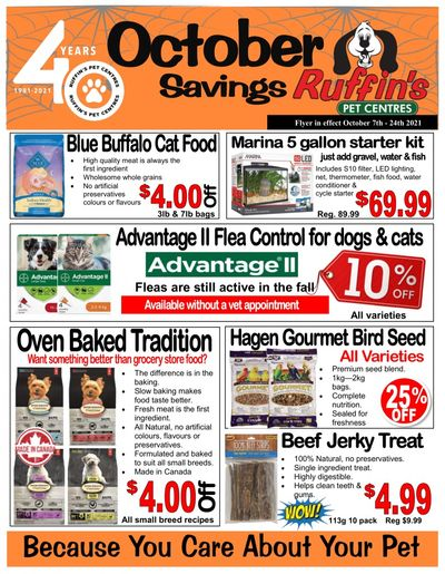 Ruffin's Pet Centre Flyer October 7 to 24