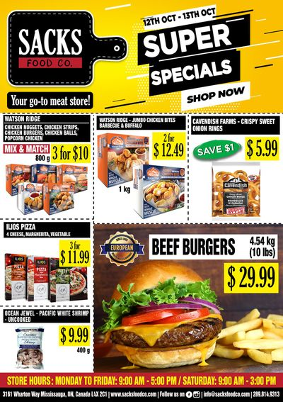 Sacks Food Co. Flyer October 12 and 13