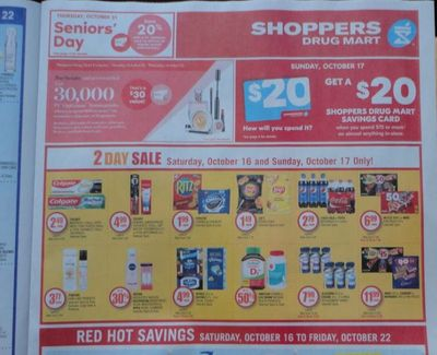 Shoppers Drug Mart Canada: Get 20x The Points When You Spend $50 October 16th