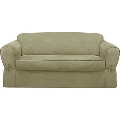 Maytex Piped Suede Slipcover Sofa, 2-Piece (Sage) $92.09 (Reg $125.00)