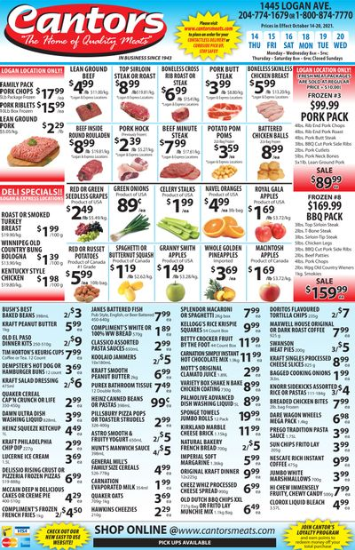 Cantor's Meats Flyer October 14 to 20
