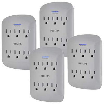 Philips 6-Outlet Extender Surge Protector, 4 Pack, Wall Tap, 900 Joules, 3-Prong, Space Saving Design, Protection Indicator LED Light, ETL Listed, Gray, SPP3469GR/37 $27.9 (Reg $29.40)