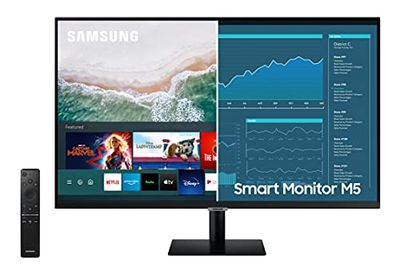 SAMSUNG M5 Series 27-Inch FHD 1080p Smart Monitor & Streaming TV (Tuner-Free), Apple Airplay, Bluetooth, Built-in Speakers, Office 365, Remote Included (LS27AM500NNXZA) $314.43 (Reg $329.99)