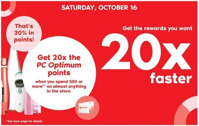 Shoppers Drug Mart Canada Offers: Get 20x The PC Optimum Points When You Spend $50 + 2 Day Sale