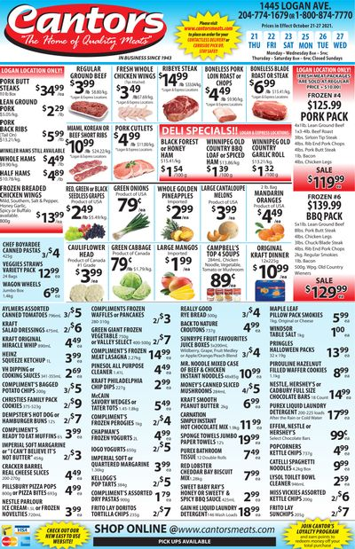 Cantor's Meats Flyer October 21 to 27