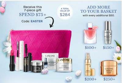 Lancôme Canada Easter Treats Deals:Receive a Gift Valued at $284 with CouponCodes + FREE Shipping On All Orders + More Deals!