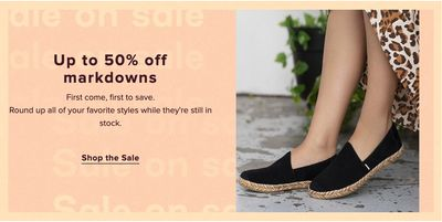 TOMS Canada Sale on Sale: Save up to 50% off All Markdowns Using Coupon Code