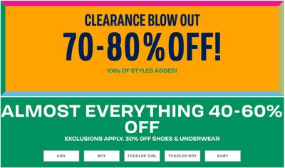 The Children's Place Canada Clearance Blow-Out: Save 70% – 80% OFF Clearance + 40% – 60% OffAlmost Everything + More Offers