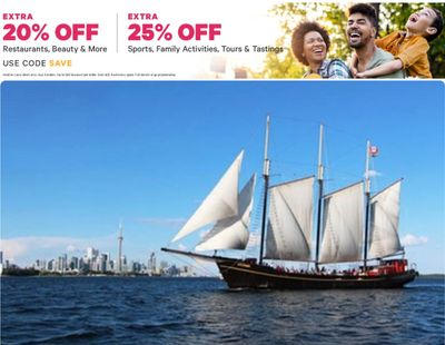 Groupon Canada Deals: Save an EXTRA 25% off Sports, Family Activities, Tours, Restaurants, Beauty& More With Coupon Code