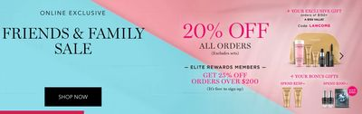 Lancôme Canada Friends & Family Sale: Save 20% off Sitewide with Coupon Code + Beauty Essentials Bag (Value $220) for Only $65 with Any Purchase of $59!